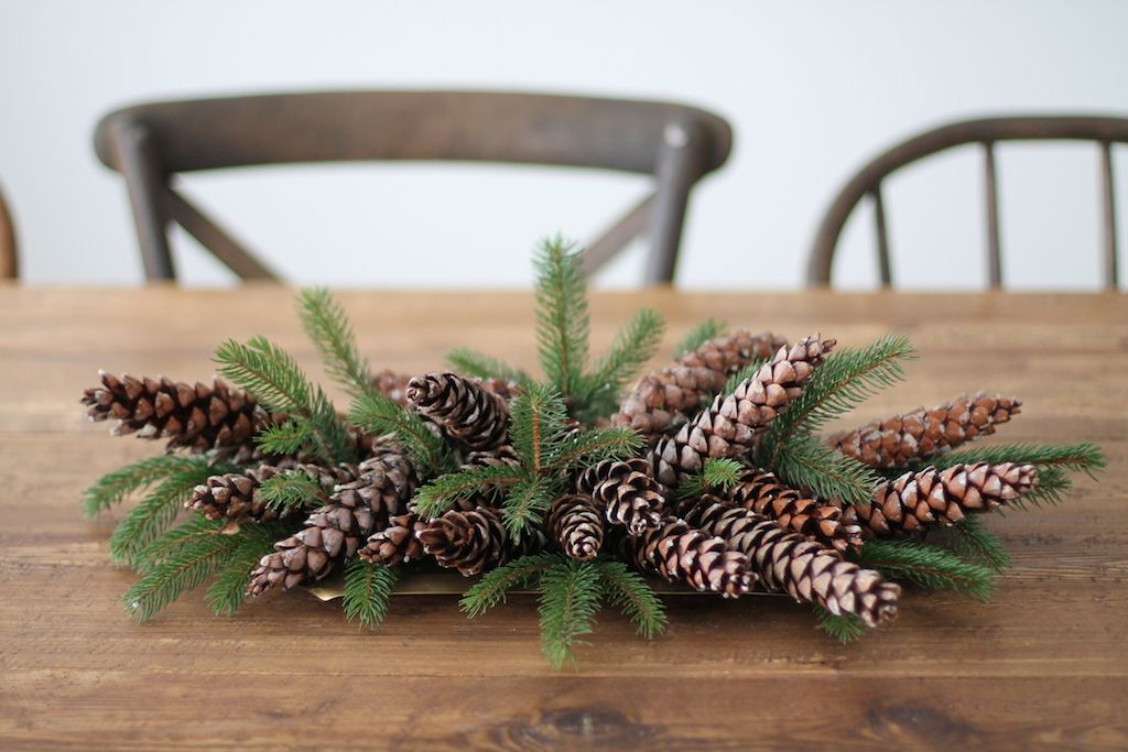Pine cones centerpiece for Holiday
