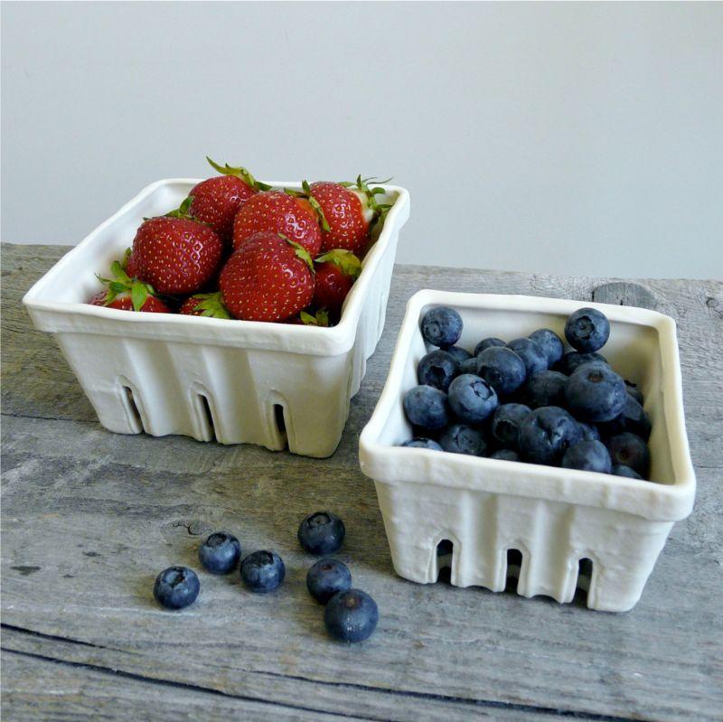 Porcelain Berry Basket, Ceramic Fruit