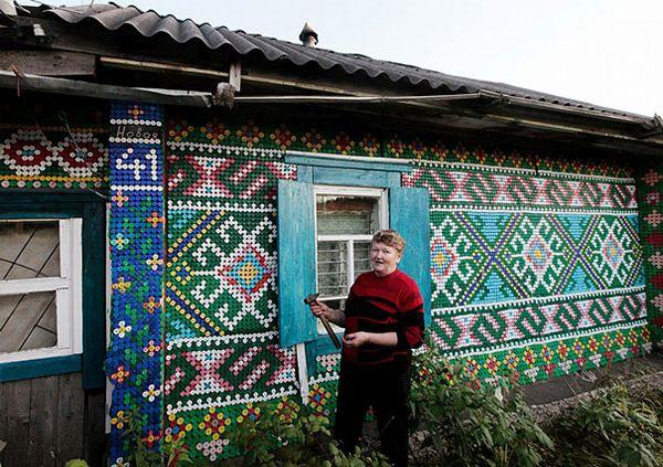 俄罗斯瓶盖房子