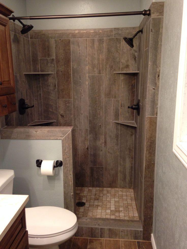 Rustic walk in shower