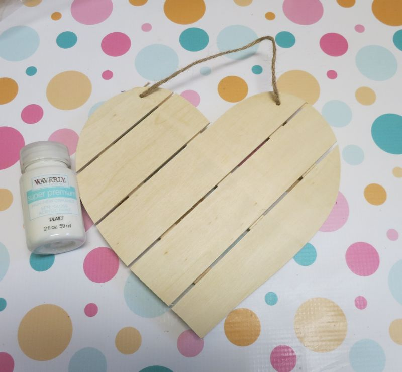 Shabby Chic Wood Heart Decor - materials