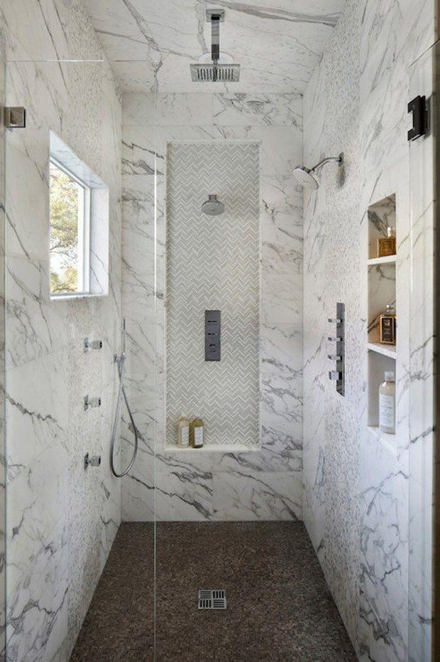 Shelves walk in shower