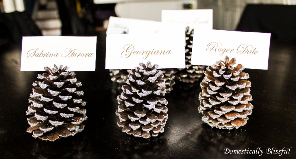 Silver sparkly pinecone place cards