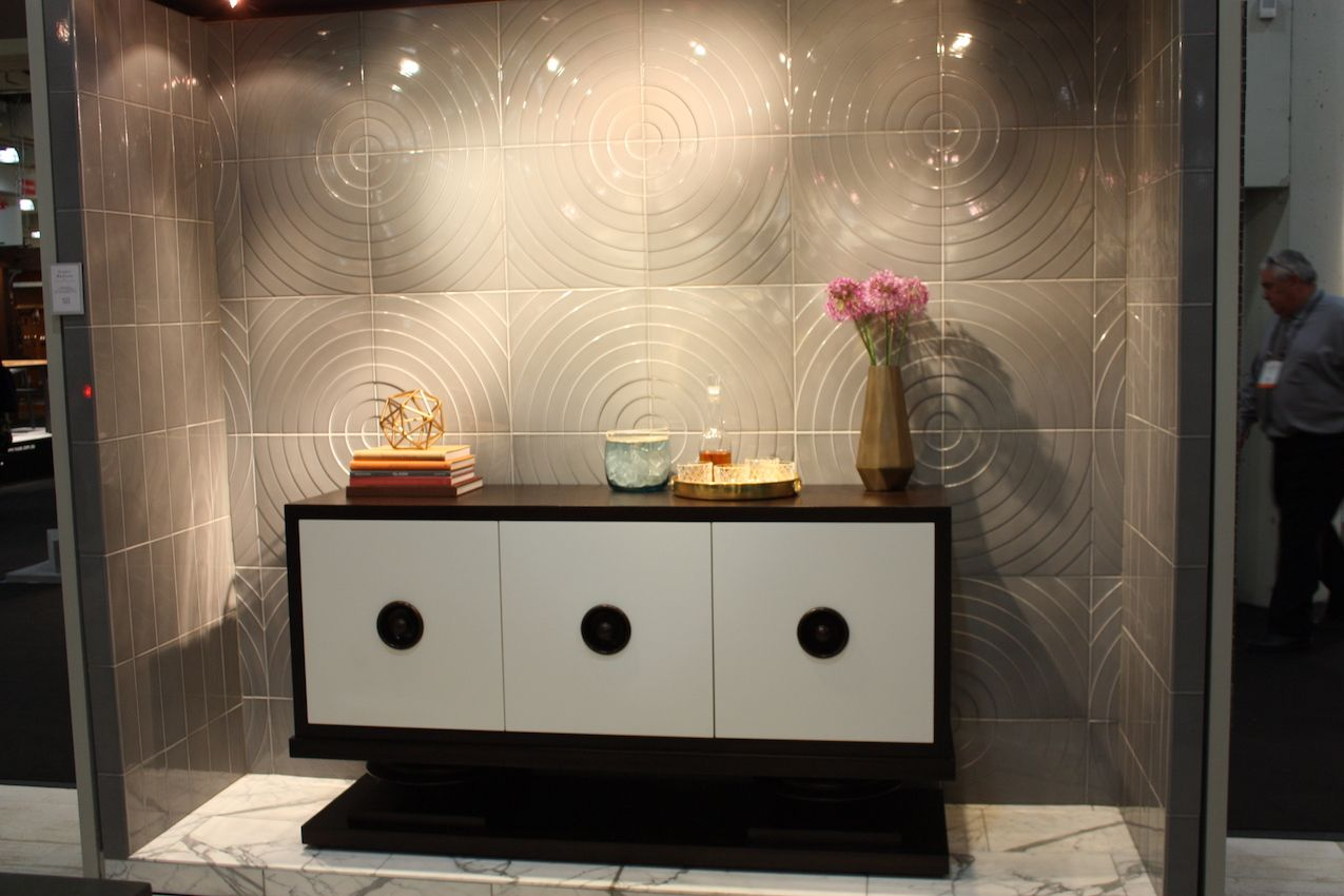 Simple concentric circles become a dramatic tile backdrop.