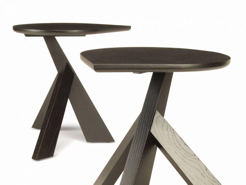 Drop series ant b side table in ebonized rift white oak.