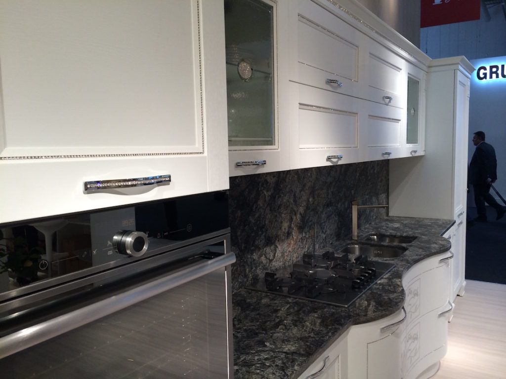 Sleek bejeweled kitchen cabinet handles