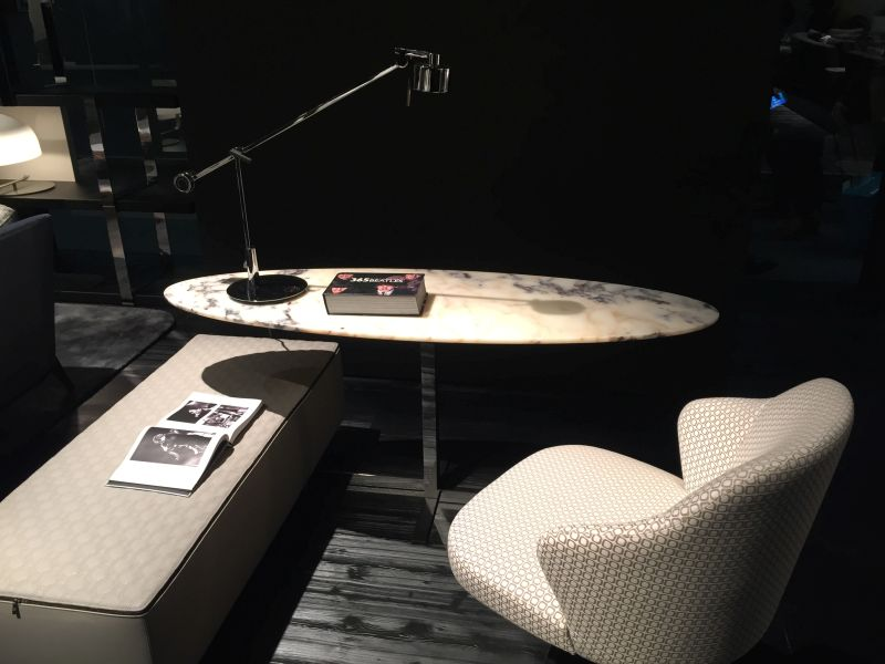 Small oval marble writing desk