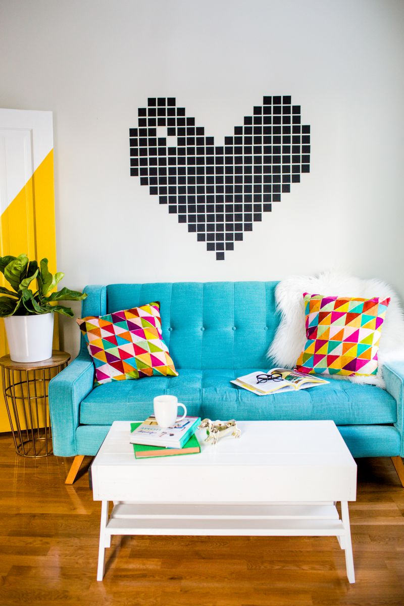 Something casual and cool - create a heart above sofa with washi tape