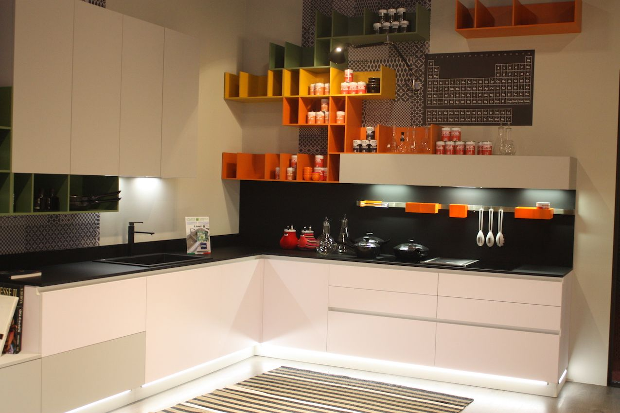 Stosa Cucine Dark Backsplash With Storage.