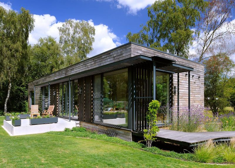 Sustainable mobile home in UK exterior and decks