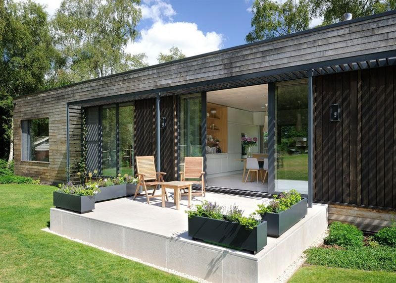 Sustainable mobile home in UK porch outside dining room