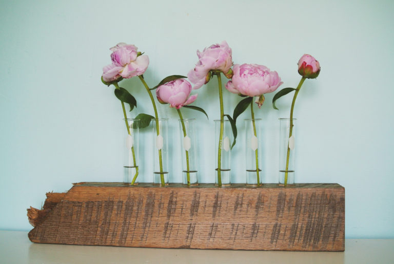 Test tube flower vases