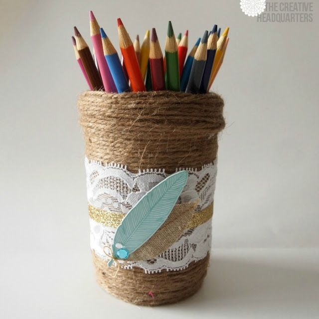 Twine and lace mason jar pencil holder