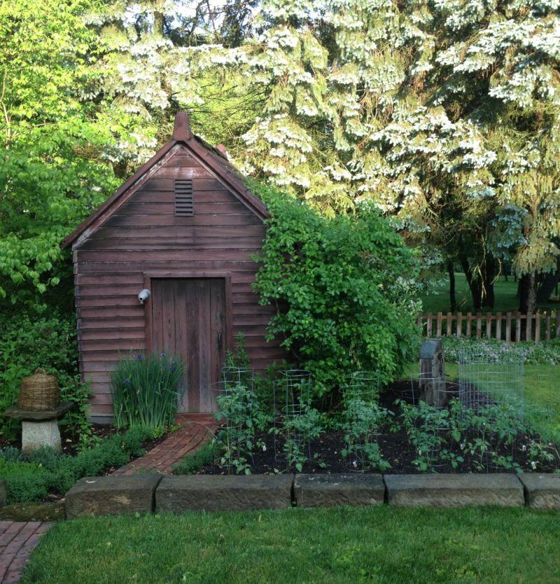 Vegetable garden shed landscaping