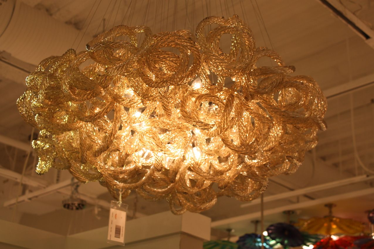 Viz glass tubular chandelier from Las Vegas Market