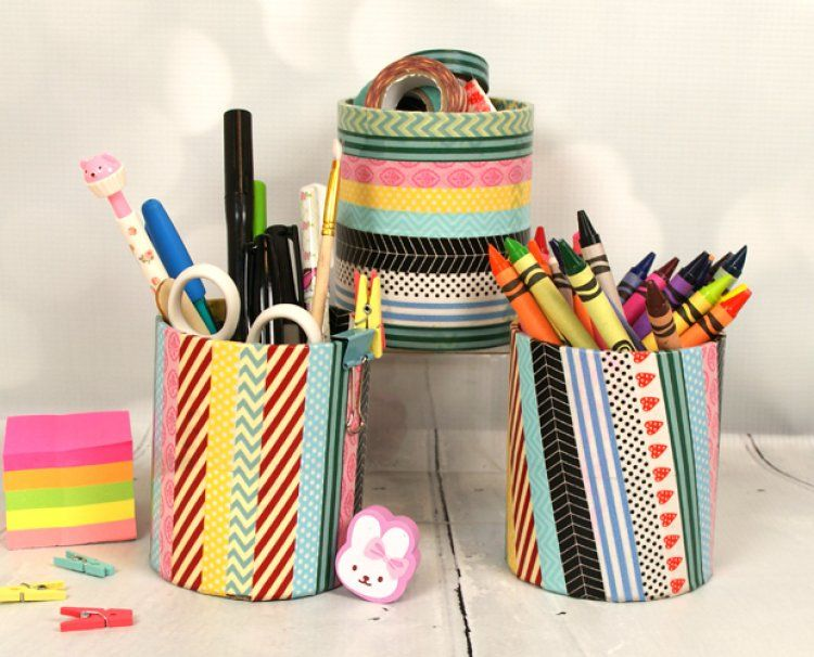 Wahi tape pencil pots