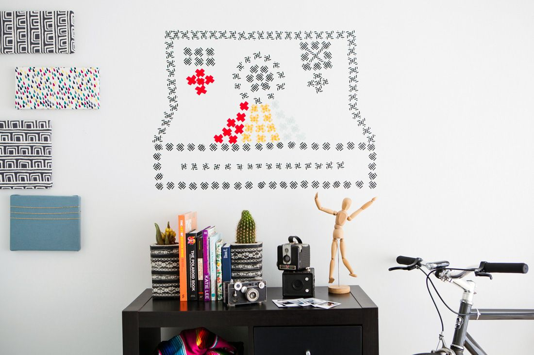 Washi stitch wall art