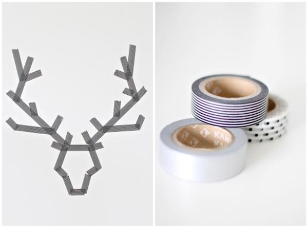 Washi tape deer antlers