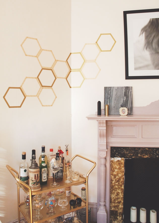 Washi tape honeycomb decor
