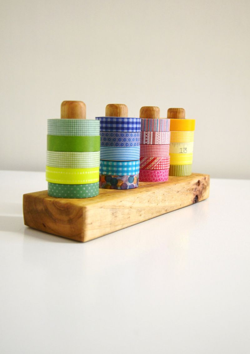 Washi tape organizer from wood