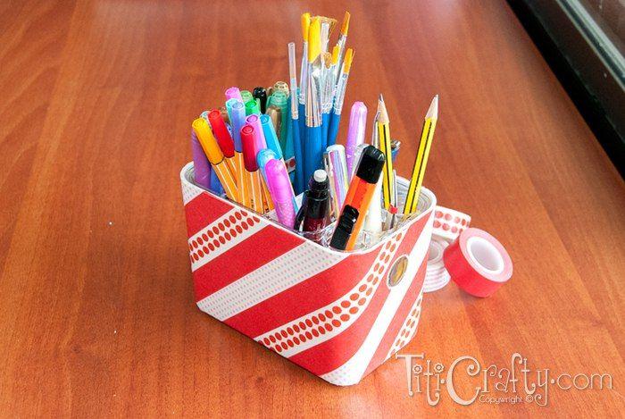Washi tape pencil holder box