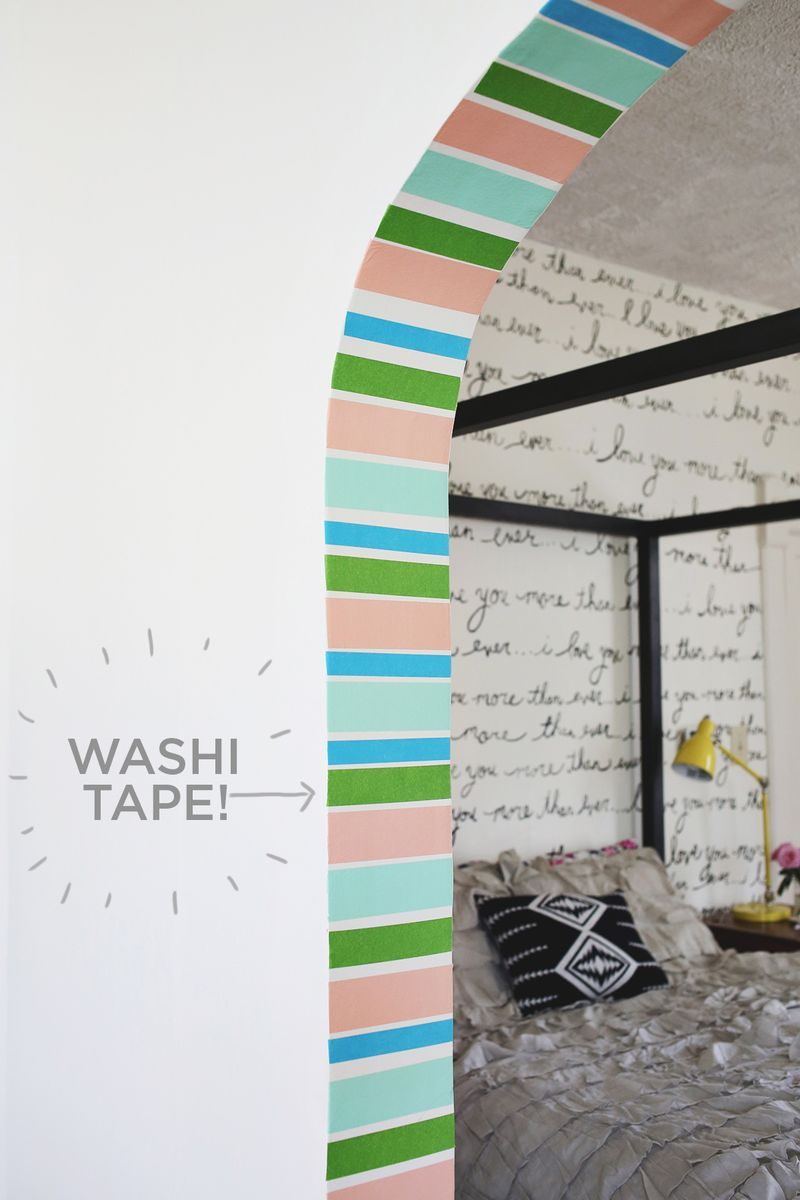 Washi tape stripe doorway