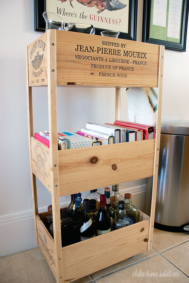 Wine crate bar cart