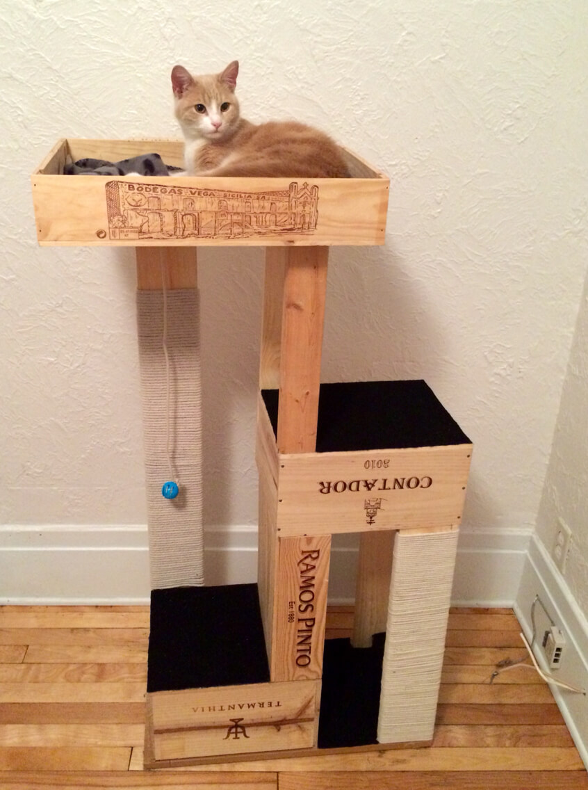 15 ways to diy with wine crates for Cool cat perches