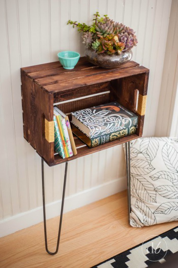 Wine crate mini table