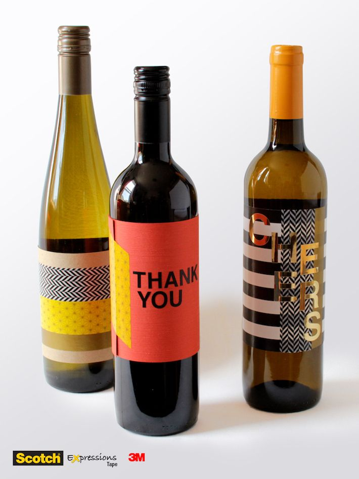 Wine hostess gift bottles with washi tape