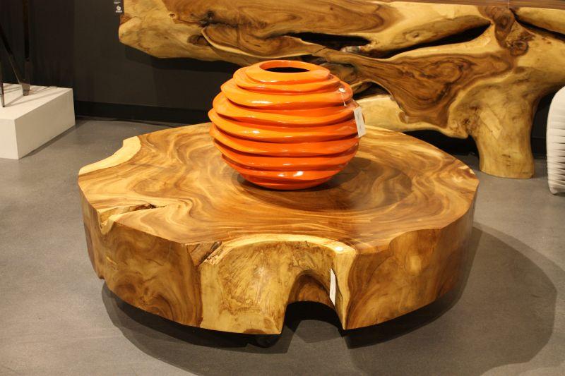 Wood Slab coffee table on wheels