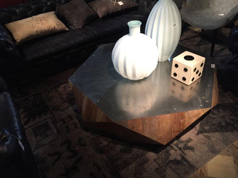 Wood geometric coffee table with mealic top