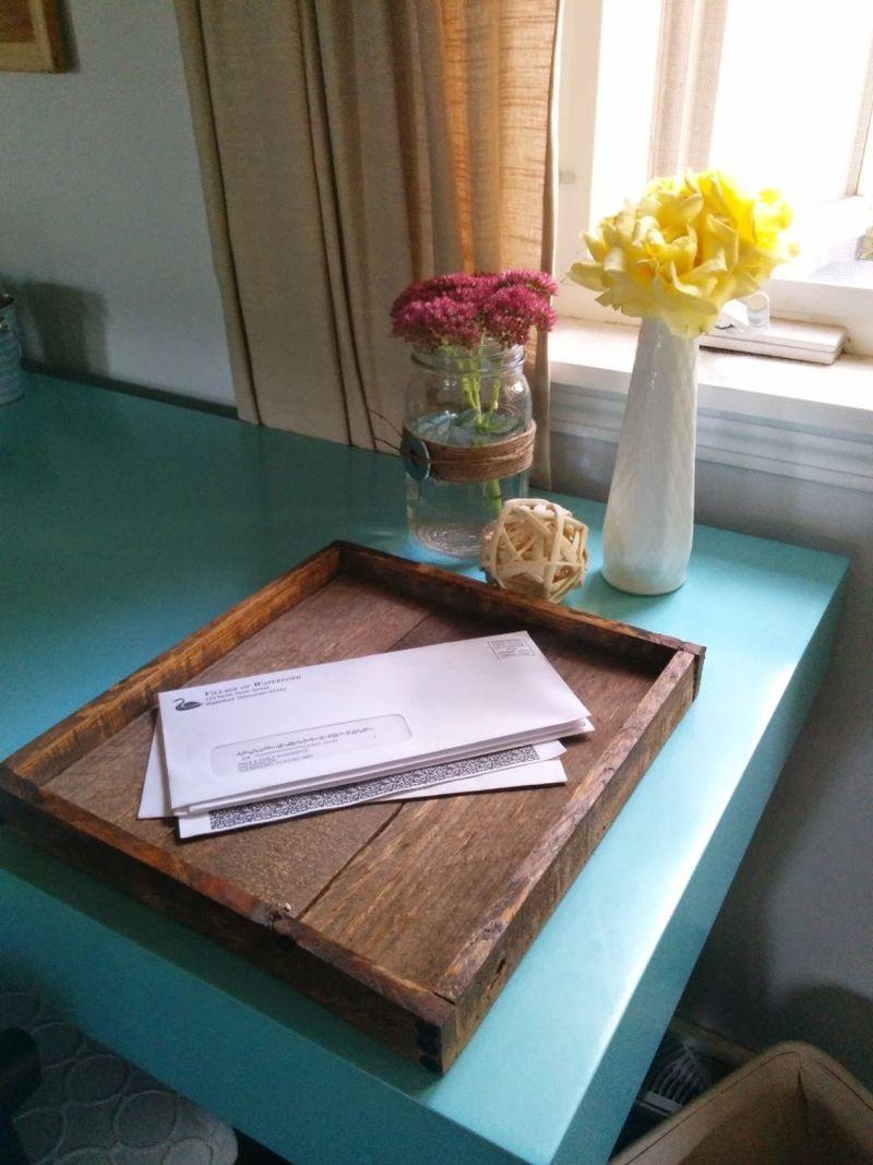 Wood mail tray
