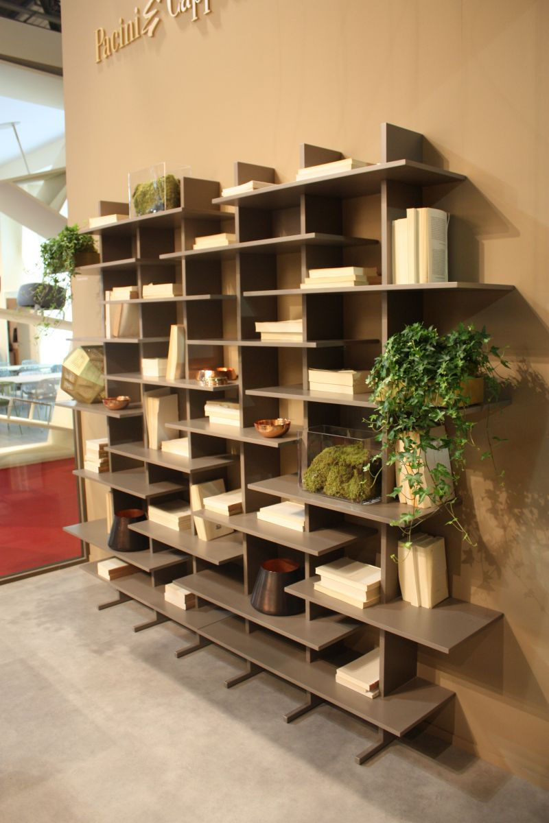 Wood shelves that create a cool bookshelves