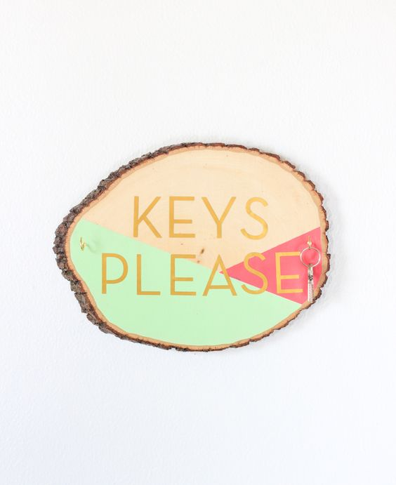 Wood slice key holder