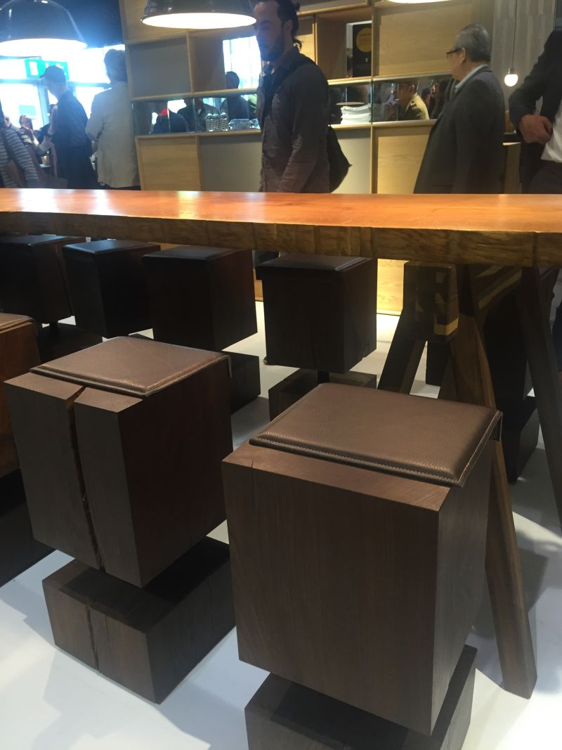 Wooden Stools with Leather on top