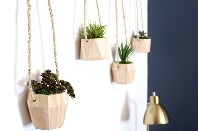 Wooden hanging plants