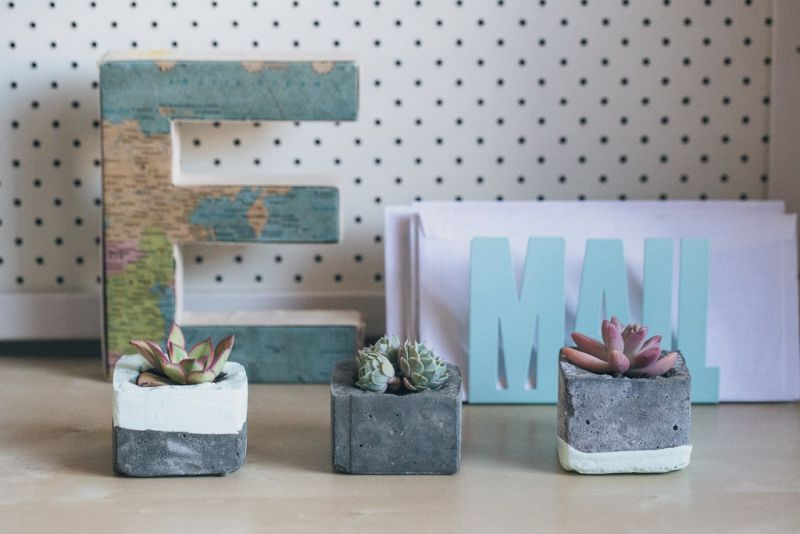 dipped concrete planters