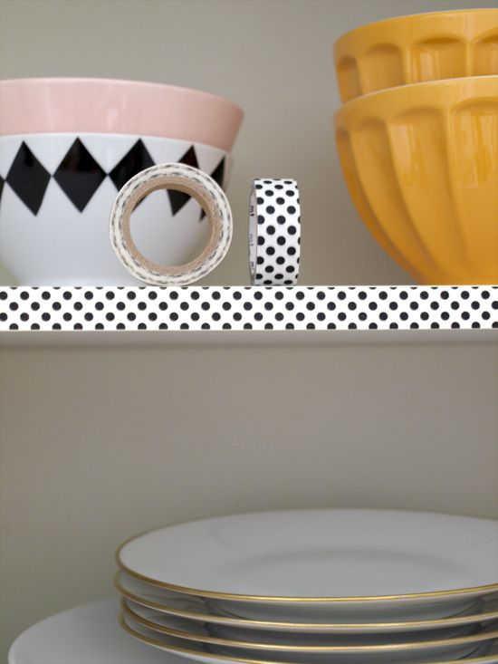 washi tape to decorate the cupboards or shelves in the kitchen