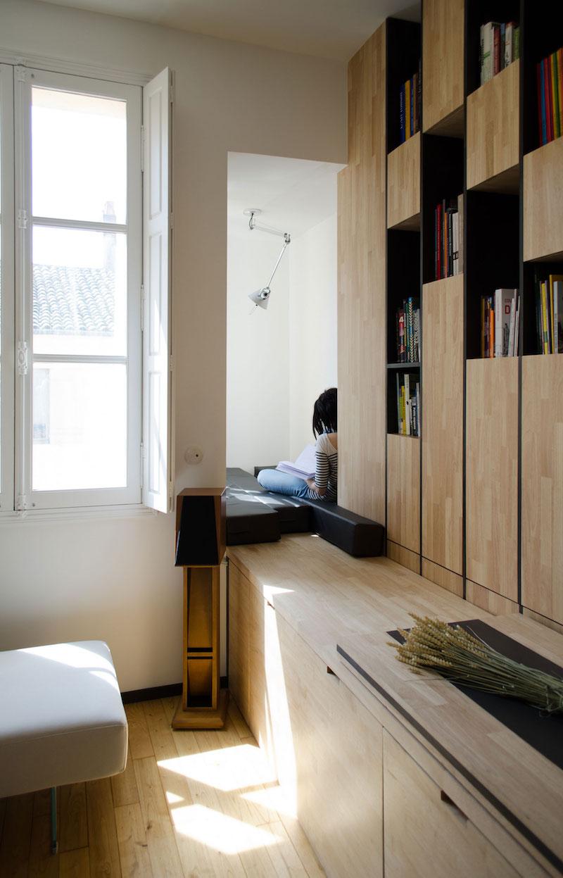 A big Little nest bookcase unit around the corner