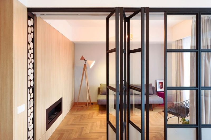 Apartment M in Bucharest folding partition wall