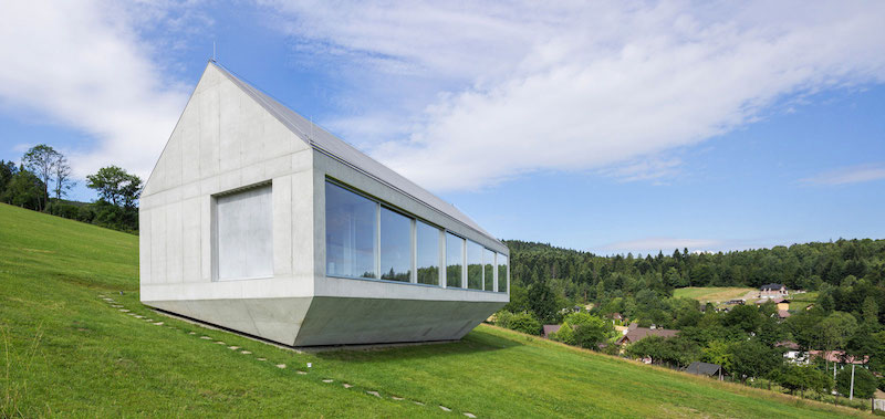 Ark house holiday home angled platform on slope