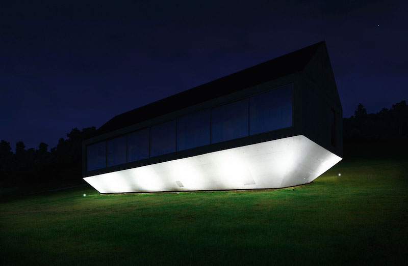 Ark house holiday home platform lights up at night