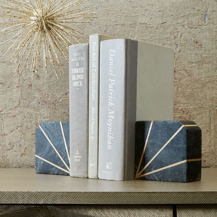 Art deco bookends in gray