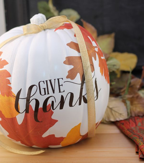 Autumn decoupage pumpkin