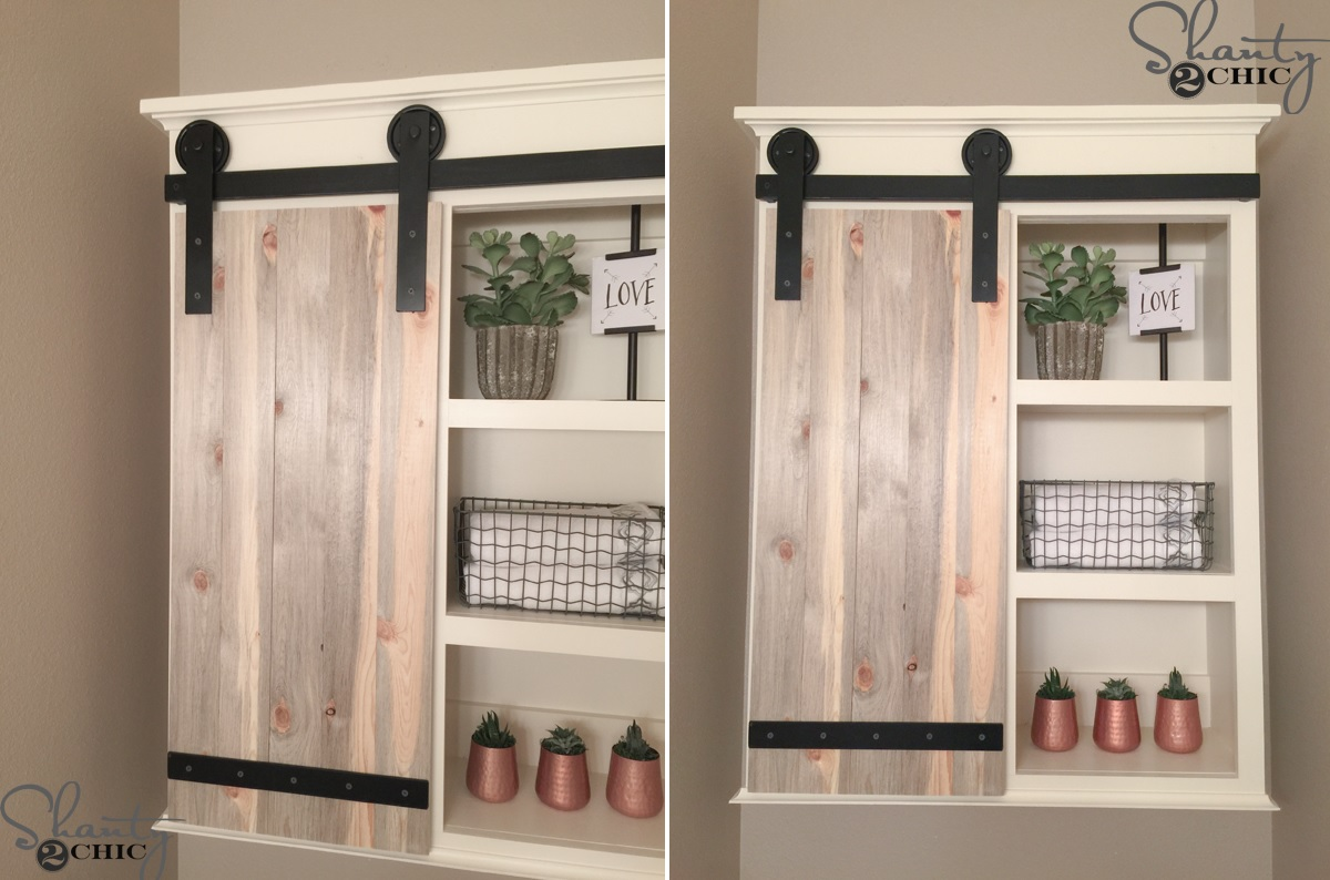Diy bathroom shelves to increase your storage space bathroom shelves with barn door solutioingenieria Images