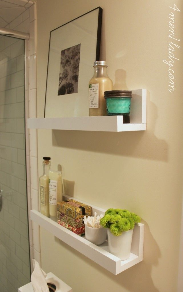 Bathroom-white-Photo-ledge-shelves Corner Tub Bathroom Ideas