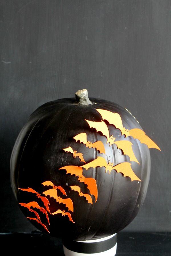 Bats decoupage pumpkin