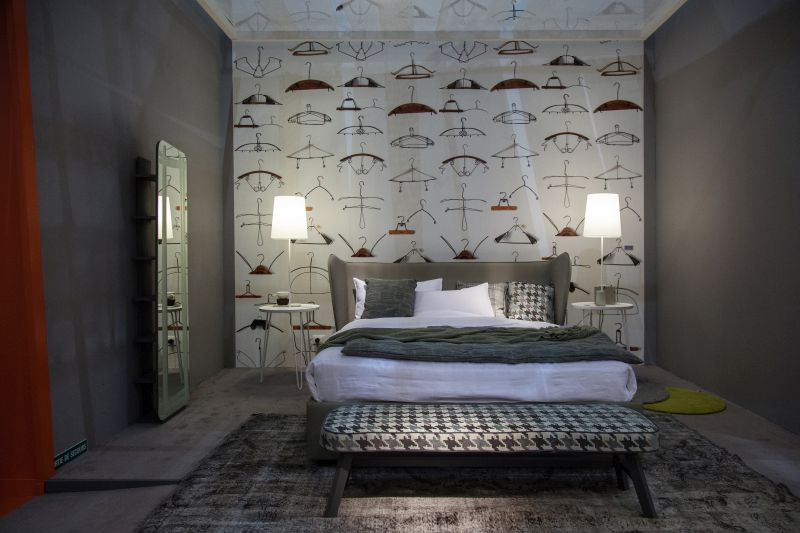 Bedroom Funky Wallpaper Design - Freestanding Mirror