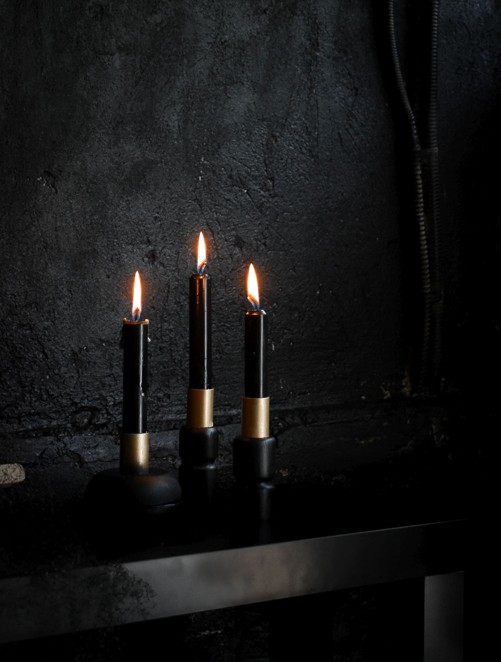Black DIY Halloween Candle Holders